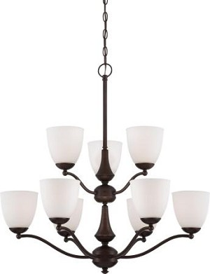 Nuvo Patton ES - 9 Light - 2 Tier Chandelier w/ Frosted Glass - (9) 13w GU24 Lamps Included - 60/5159