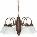 Nuvo 5 Light Chandelier w/ Alabaster Glass - 60/1291