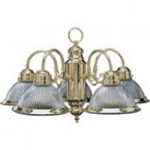 Quorum 5LT RIBBED CHANDELIER/PB - 6427-5-2