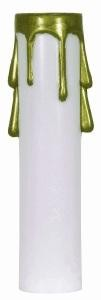 Satco Products Inc. 4'' WHITE PLASTIC CANDLE COVER GOLD DRIP - 90-372
