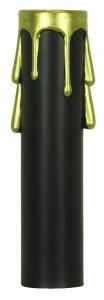 Satco Products Inc. 4'' BLACK PLASTIC CANDLE COVER GOLD DRIP - 90-374