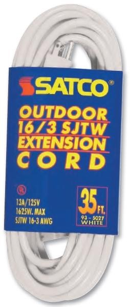 Satco Products Inc. 35 FT 16-3 SJTW WHITE OUTDOOR - 93-5027