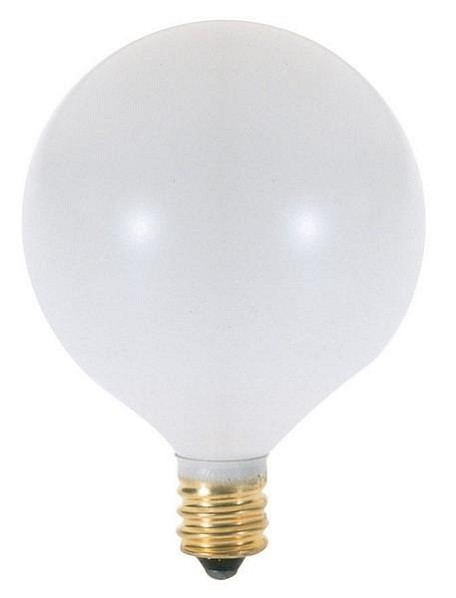 Satco Products Inc. 60 watt; G16 1/2; Satin White; 1500 average rated hours; 630 lumens; Candelabra base; 120 volts - S3772