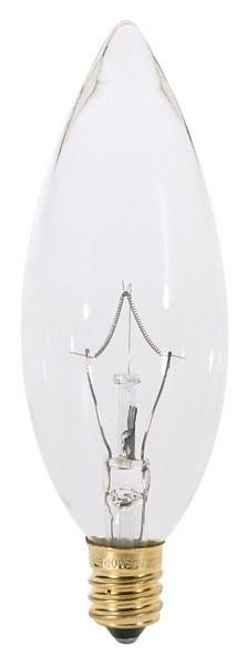 Satco Products Inc. 40 watt; BA9 1/2; Clear; 1500 average rated hours; 384 lumens; Candelabra base; 120 volts - S3783