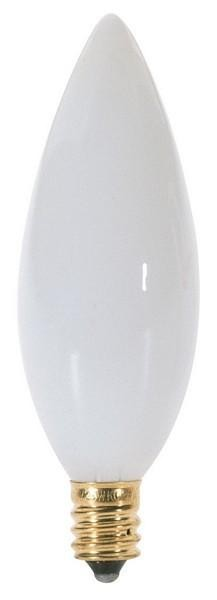 Satco Products Inc. 40 watt; BA9 1/2; White; 1500 average rated hours; 328 lumens; Candelabra base; 120 volts - S3789