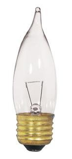 Satco Products Inc. 25 watt; CA10; Clear; 1500 average rated hours; 250 lumens; Medium base; 12 volts - S3869