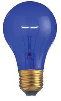 Satco Products Inc. 25 watt; A19; Transparent Blue; 2000 average rated hours; Medium base; 130 volts - S6082