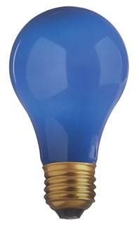Satco Products Inc. 25 watt; A19; Ceramic Blue; 1000 average rated hours; Medium base; 130 volts - S6092
