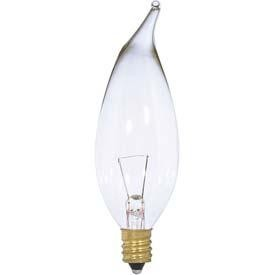 Satco Products Inc. 25 watt; CA10; Clear; 1500 average rated hours; 250 lumens; Candelabra base; 12 volts - S3868