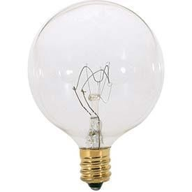 Satco Products Inc. 40 watt; G16 1/2; Clear; 2500 average rated hours; 380 lumens; Candelabra base; 120 volts - S4472