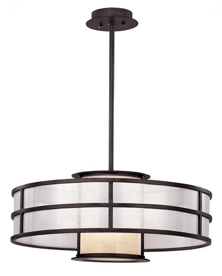 Troy One Light Black Drum Shade Pendant - FF2736