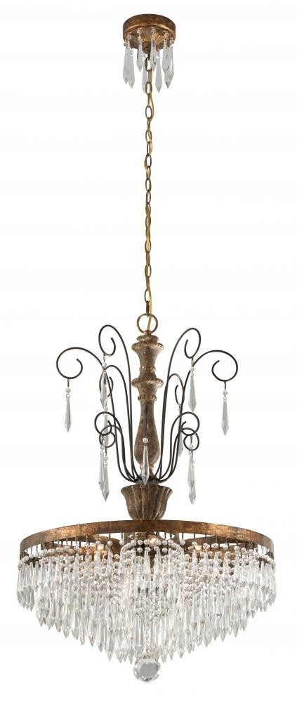 Six Light Marais Gold Leaf Wit Down Chandelier