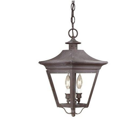 Two Light Natural Rust Hanging Lantern
