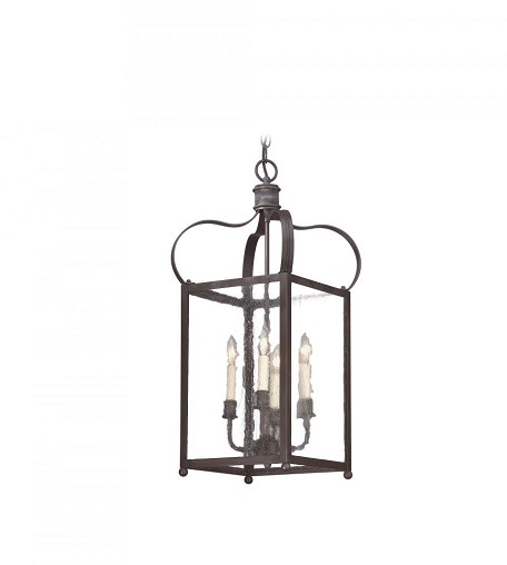 Troy Four Light Black Framed Glass Foyer Hall Fixture - FCD8921CI