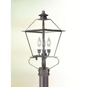 Troy Three Light Brass Post Light - PCD9135NAB