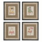 Uttermost Pampered Pets Framed Art, S/4 - 51085