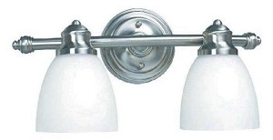 World Imports 2 Lts bath fixture with glass shade; AR063A-2B-SN - WI342202