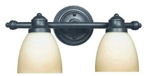 World Imports 2 Lts bath fixture with glass shade; AR063A-2B-ORB - WI342288