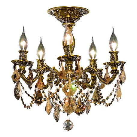 "Rosalia Collection 5-Light 18"" French Gold Semi Flush Mount with Golden Teak Smoky Swarovski Strass Crystal 9205F18FG-GT/SS"