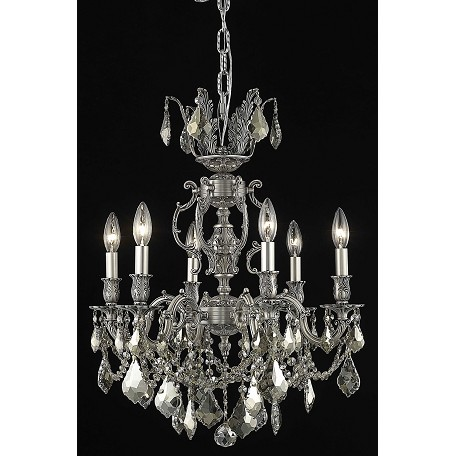 "Marseille Collection 6-Light 20"" Pewter Chandelier with Golden Teak Smoky Swarovski Strass Crystal 9506D20PW-GT/SS"