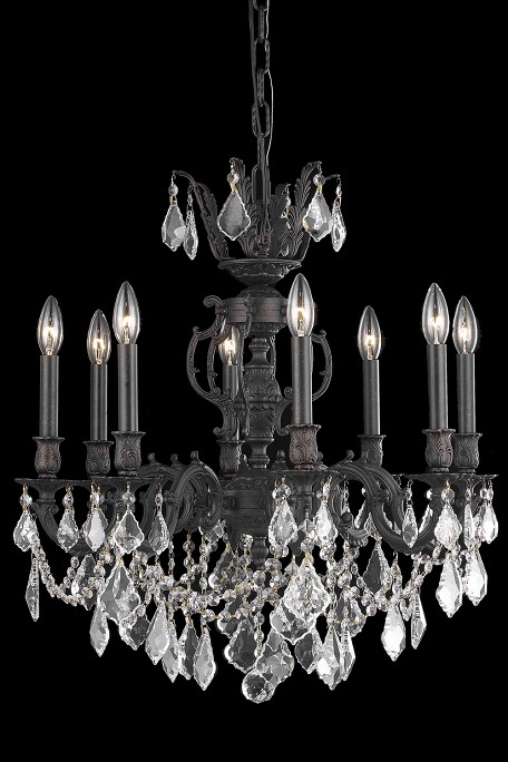 "Marseille Collection 8-Light 24"" Dark Bronze Chandelier with Clear Swarovski Spectra Crystal 9508D24DB/SA"