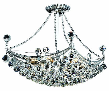 "Corona Collection 6-Light 14"" Chrome Semi Flush Mount with Clear Elegant Cut Crystal 9800D24C/EC"
