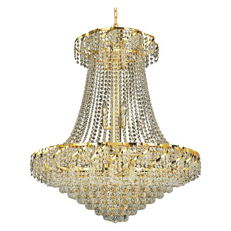 "Belenus Collection 18-Light 30"" Gold Chandelier with Clear Swarovski Spectra Crystal ECA1D30G/SA"
