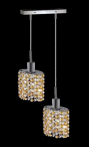 "Hollywood Design 2-Light 8"" Linear Oval Adjustable Pendants with 30% Lead or Swarovski Spectra Crystal SKU# 11332"
