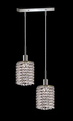 "Hollywood Design 2-Light 8"" Linear Round Adjustable Pendants with 30% Lead or Swarovski Spectra Crystal SKU# 11334"