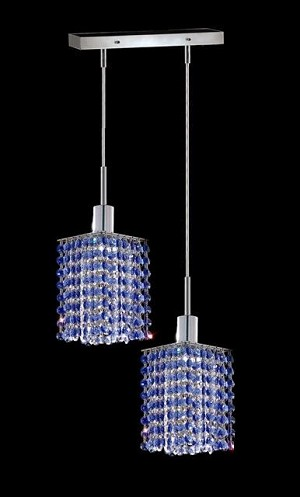 "Hollywood Design 2-Light 8"" Linear Square Adjustable Pendants with 30% Lead or Swarovski Spectra Crystal SKU# 11333"