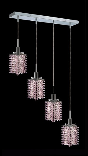 "Hollywood Design 4-Light 26"" Linear Star Adjustable Pendants 30% Lead or Swarovski Spectra Crystal SKU# 11470"