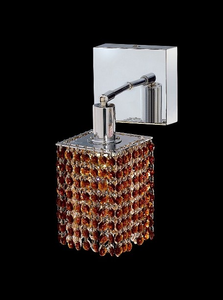 "Hollywood Design 1-Light 6"" Square Wall Sconce  30% Lead or Swarovski Spectra Crystal SKU# 11324"