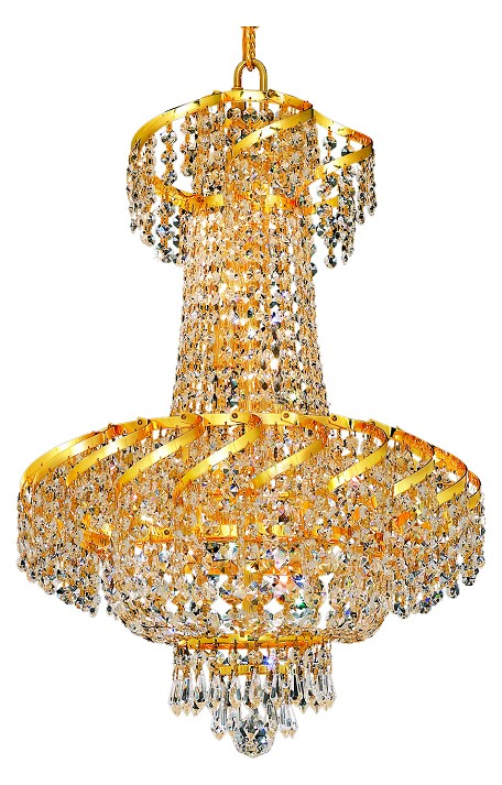 "Belenus Collection 6-Light 18"" Gold Chandelier with Clear Swarovski Spectra Crystal ECA2D18G/SA"