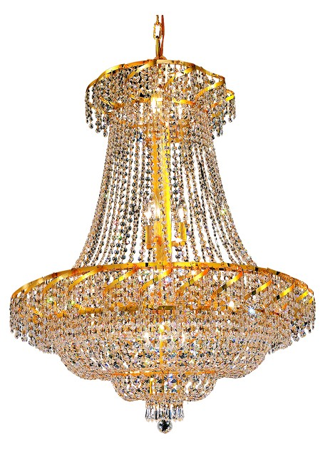 "Belenus Collection 18-Light 30"" Gold Chandelier with Clear Swarovski Spectra Crystal ECA2D30G/SA"