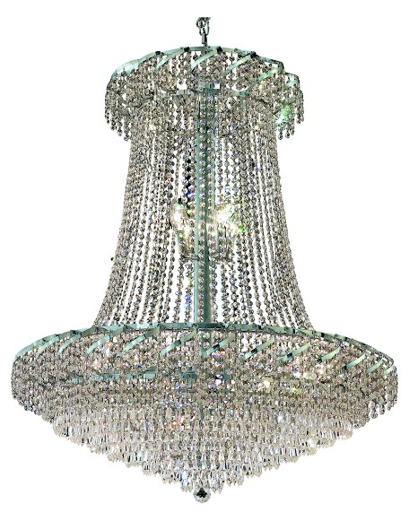 Elegant Cut Clear Crystal Belenus 22-Light, Two-Tier Crystal Chandelier, Finished in Chrome with Clear Crystals