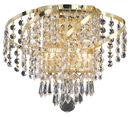 "Belenus Collection 2-Light 12"" Gold Wall Sconce with Clear Swarovski Spectra Crystal ECA4W12G/SA"