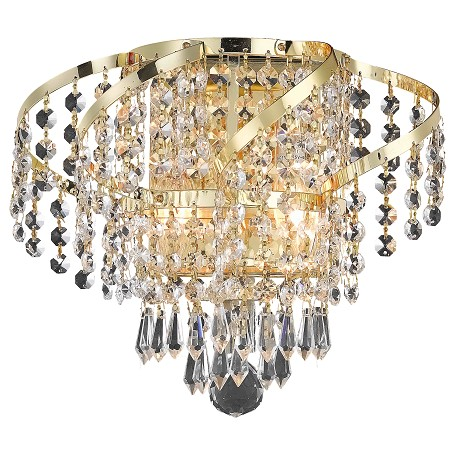 "Belenus Collection 2-Light 12"" Gold Wall Sconce with Clear  Swarovski Strass Crystal ECA4W12G/SS"