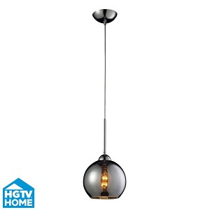 "Cassandra Collection 1-Light 9"" Polished Chrome Pendant With Chrome Plated Glass Shade 10240/1CHR"