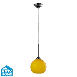 "Cassandra Collection 1-Light 9"" Polished Chrome Pendant With Lemon Glass Shade 10240/1LEM"