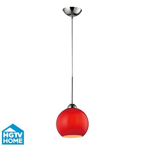 "Cassandra Collection 1-Light 9"" Polished Chrome Pendant With Vermillion Glass Shade 10240/1VERM"