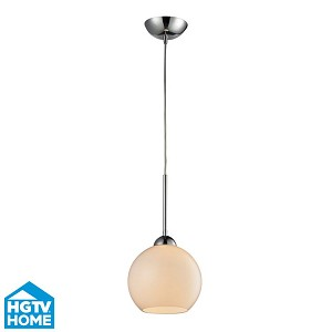 "Cassandra Collection 1-Light 9"" Polished Chrome Pendant With White Glass Shade 10240/1WH"