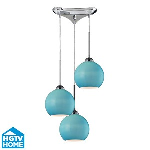 "Cassandra Collection 3-Light 10"" Polished Chrome Round Pendant With Aqua Glass Shades 10240/3aq"