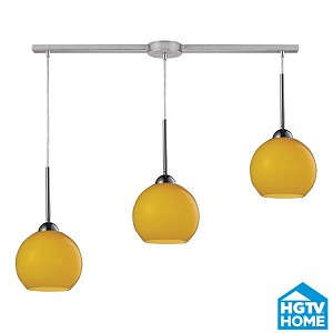 "Cassandra Collection 3-Light 36"" Polished Chrome Linear Pendant With Lemon Glass Shades 10240/3L-lem"