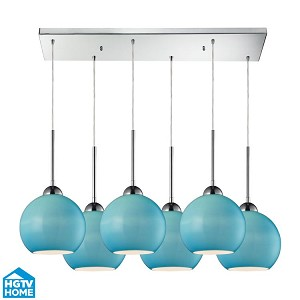 "Cassandra Collection 6-Light 30"" Polished Chrome Linear Pendant With Aqua Glass Shades 10240/6rc-aq"