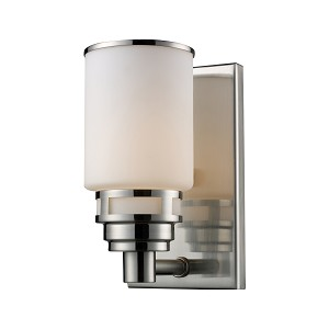 "Bryant Collection 1-Light 5"" Satin Nickel Wall Sconce with Opal Glass 11264/1"