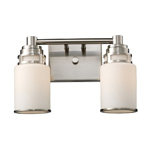 "Bryant Collection 2-Light 14"" Satin Nickel Bathbar with Opal Glass 11265/2"