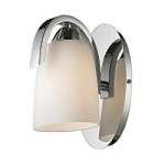 "Somerset Collection 1-Light 6"" Polished Chrome Wall Sconce with Opal Glass 11385/1"