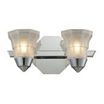"Deco Collection 2-Light 12"" Polished Chrome Bathbar with Octagonal Opal Glass 11391/2"