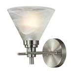 "Pemberton Collection 1-Light 7"" Satin Nickel LED Wall Sconce with White Marbleized Glass 11400/1-LED"