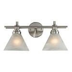 "Pemberton Collection 2-Light 18"" Satin Nickel LED Bathbar with White Marbleized Glass 11401/2-LED"